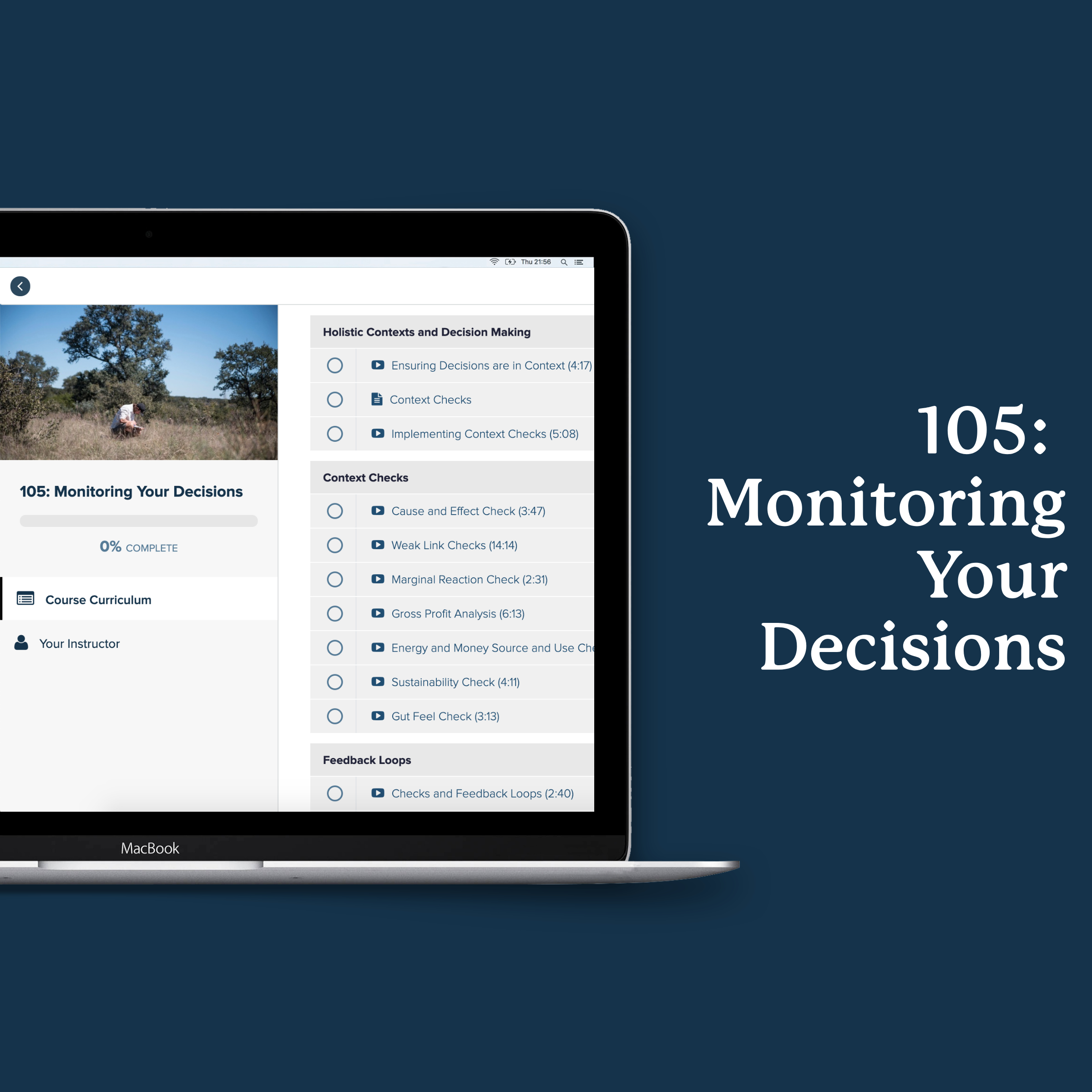 Course 105: Monitoring Your Decisions